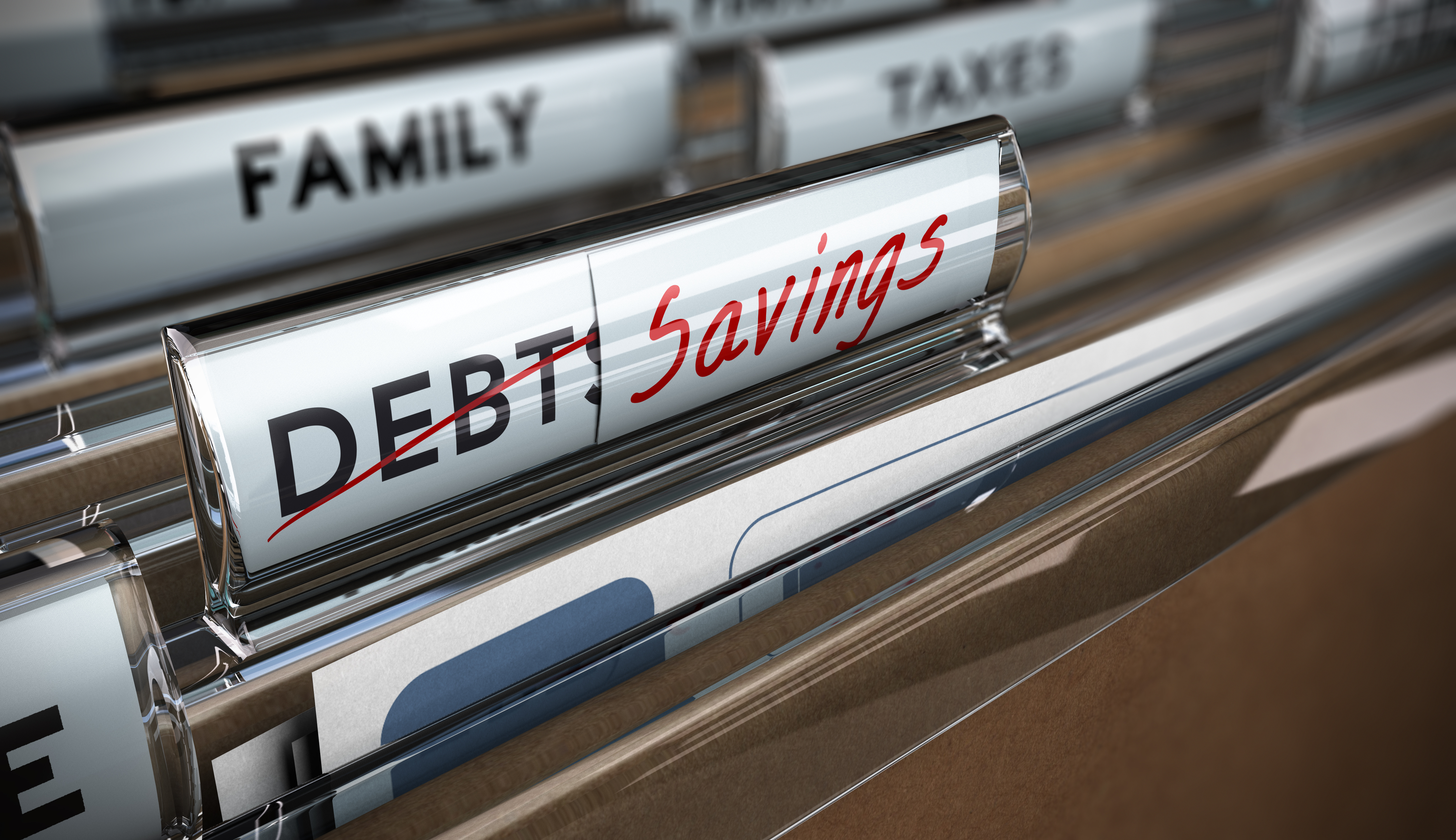 File folder tab with debt replaced by savings