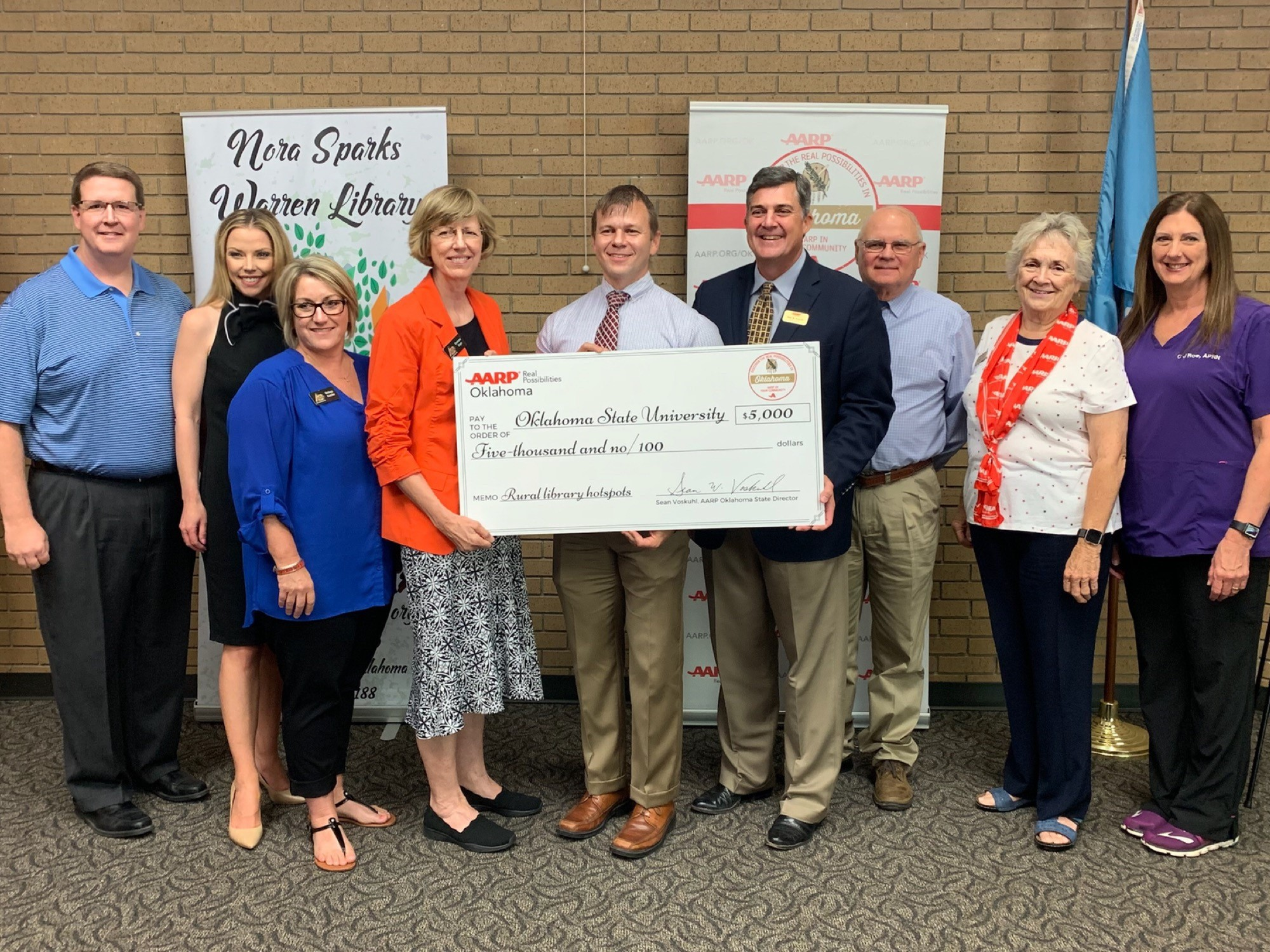 AARP Oklahoma Awards Oklahoma State University $5,000 Grant for Rural Broadband Hotspot Library Program