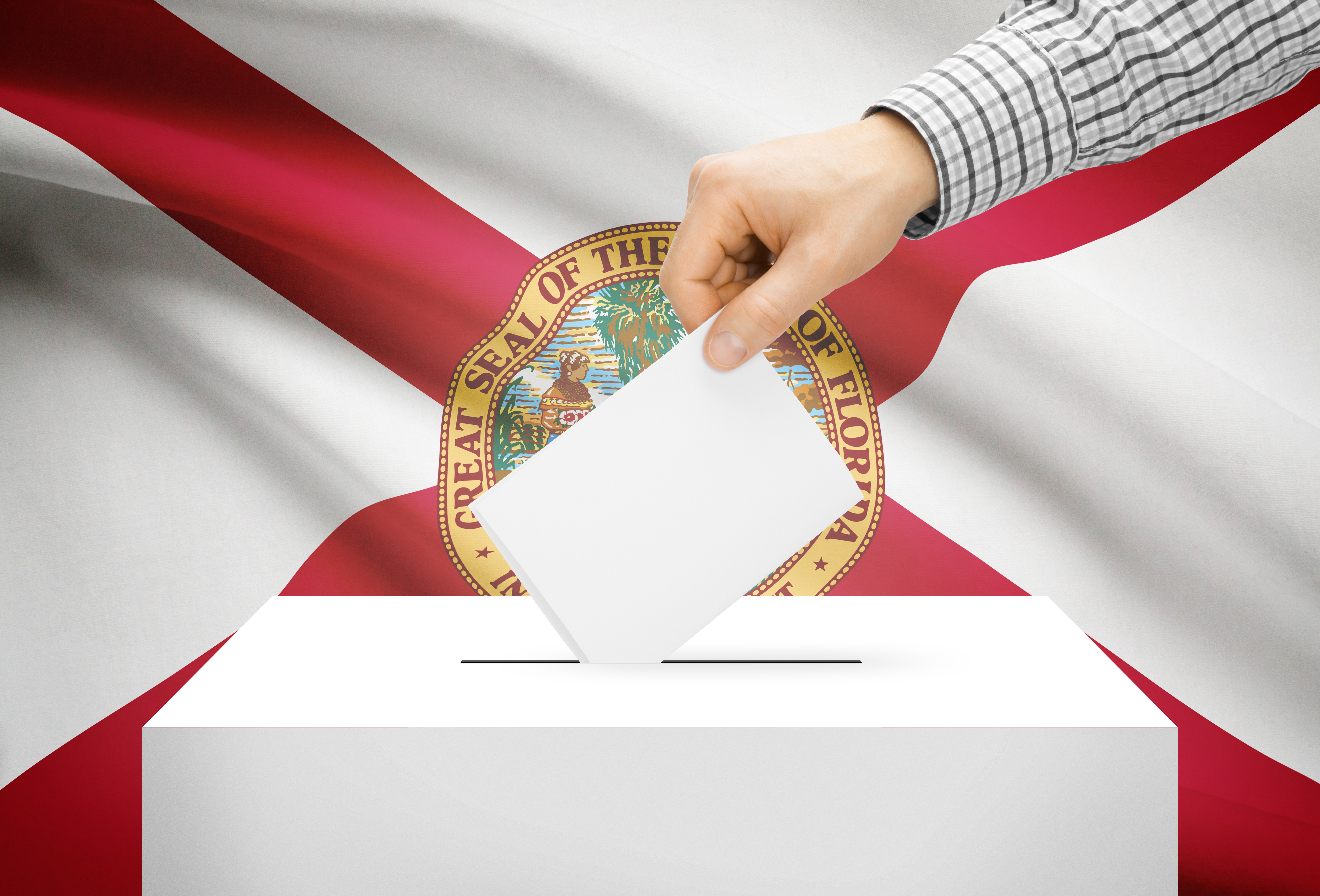 Ballot box with national flag on background - Florida