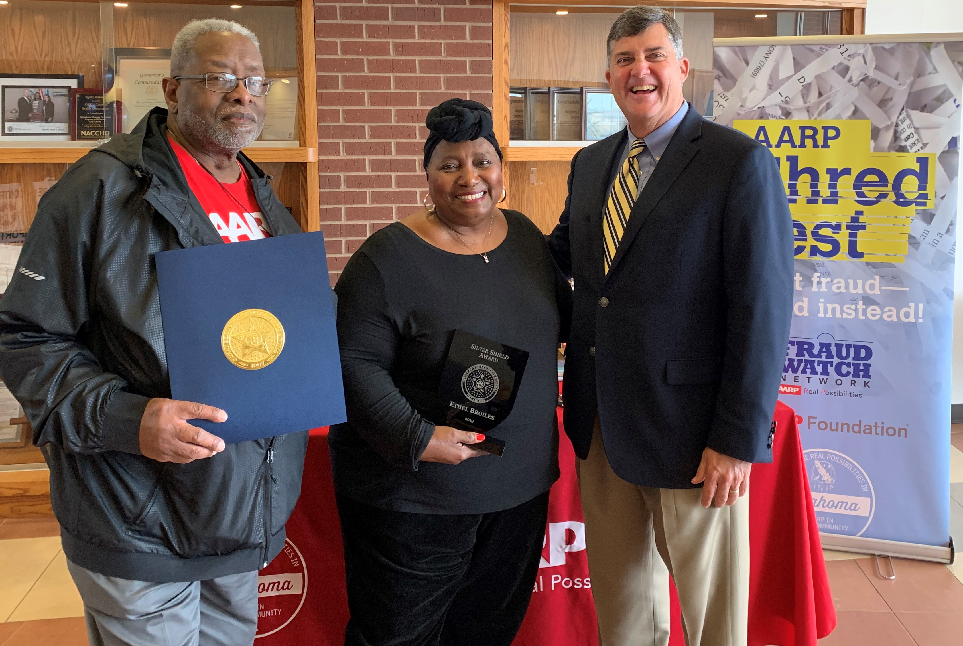 AARP OK Volunteer Honored with Silver Shield Award from Oklahoma Attorney General Hunter