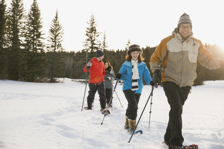 Multi-generation family snowshoeing