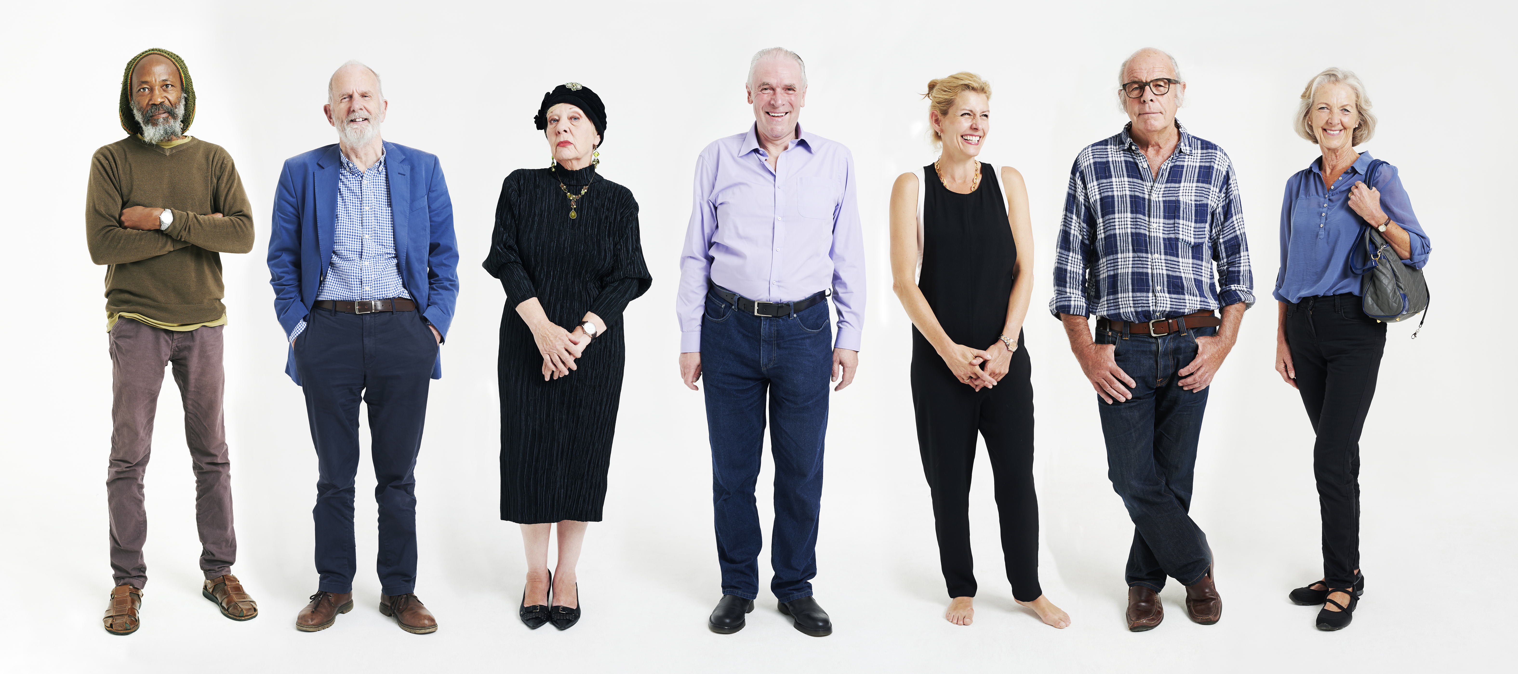 Line-up of mature people
