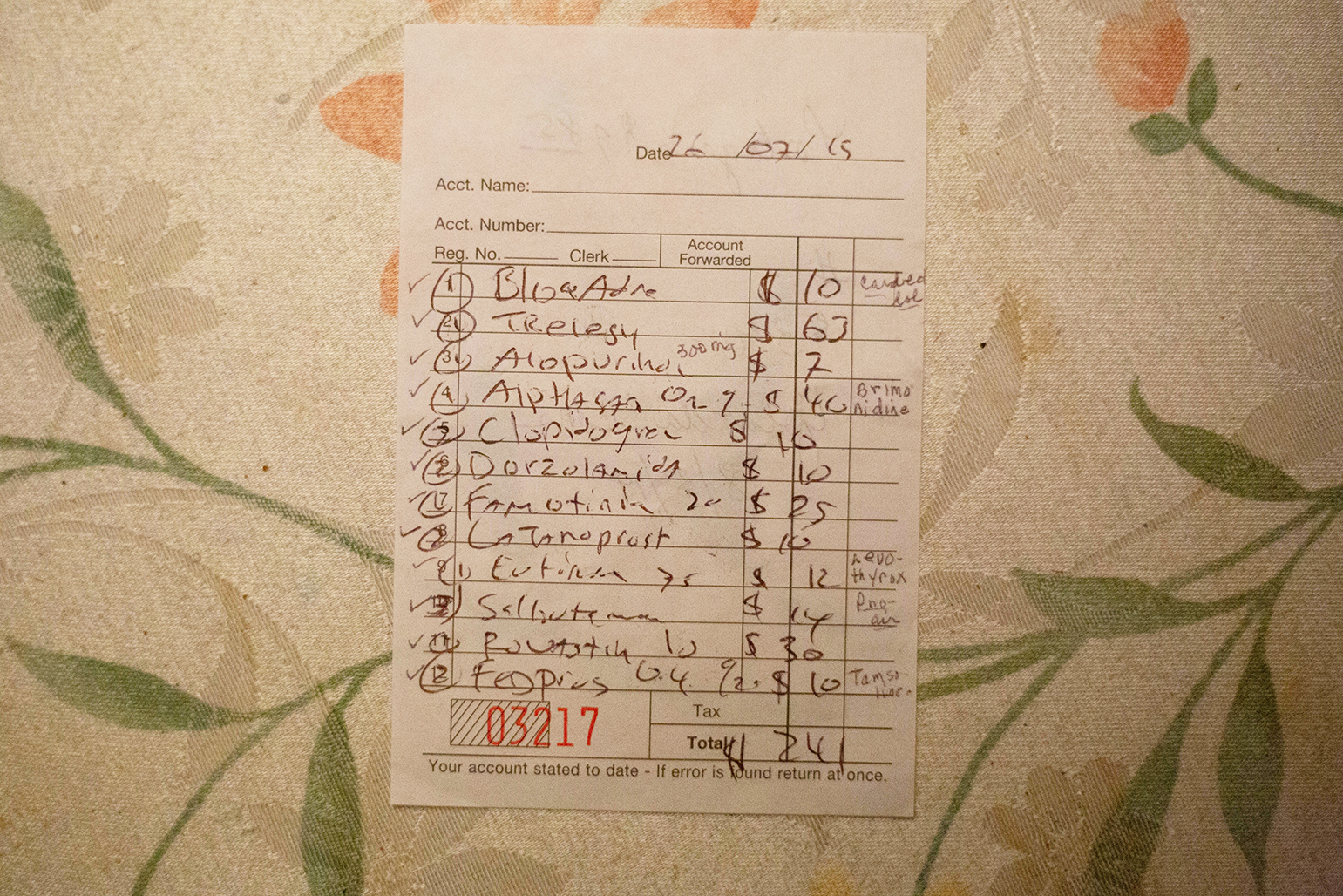 A list of prescription drugs and their prices