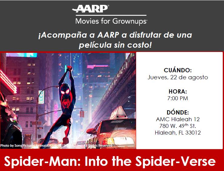 ¡Acompaña a AARP a disfrutar de una película sin costo! Spider-Man: Into the Spider-Verse!