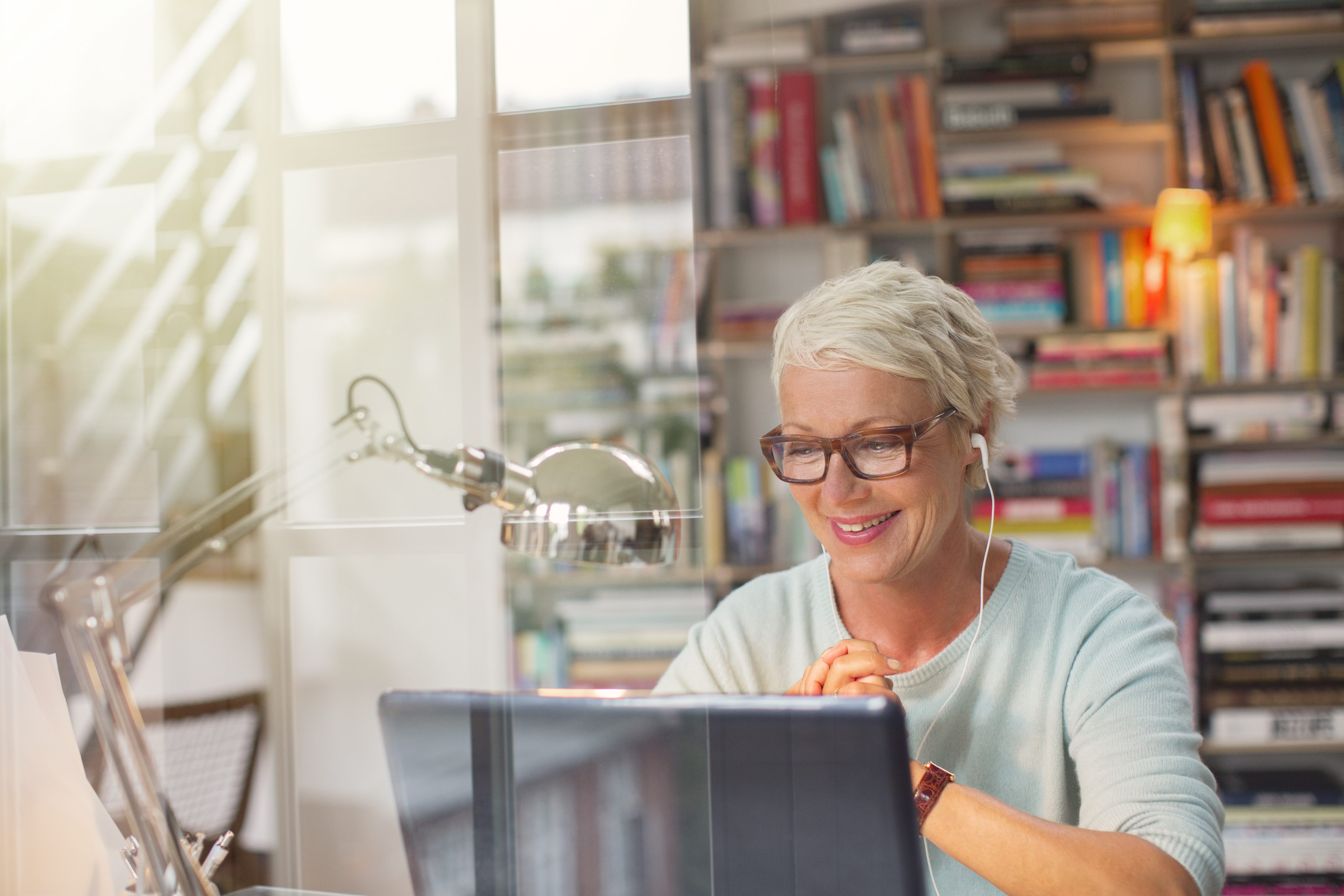 Businesswoman working in home office