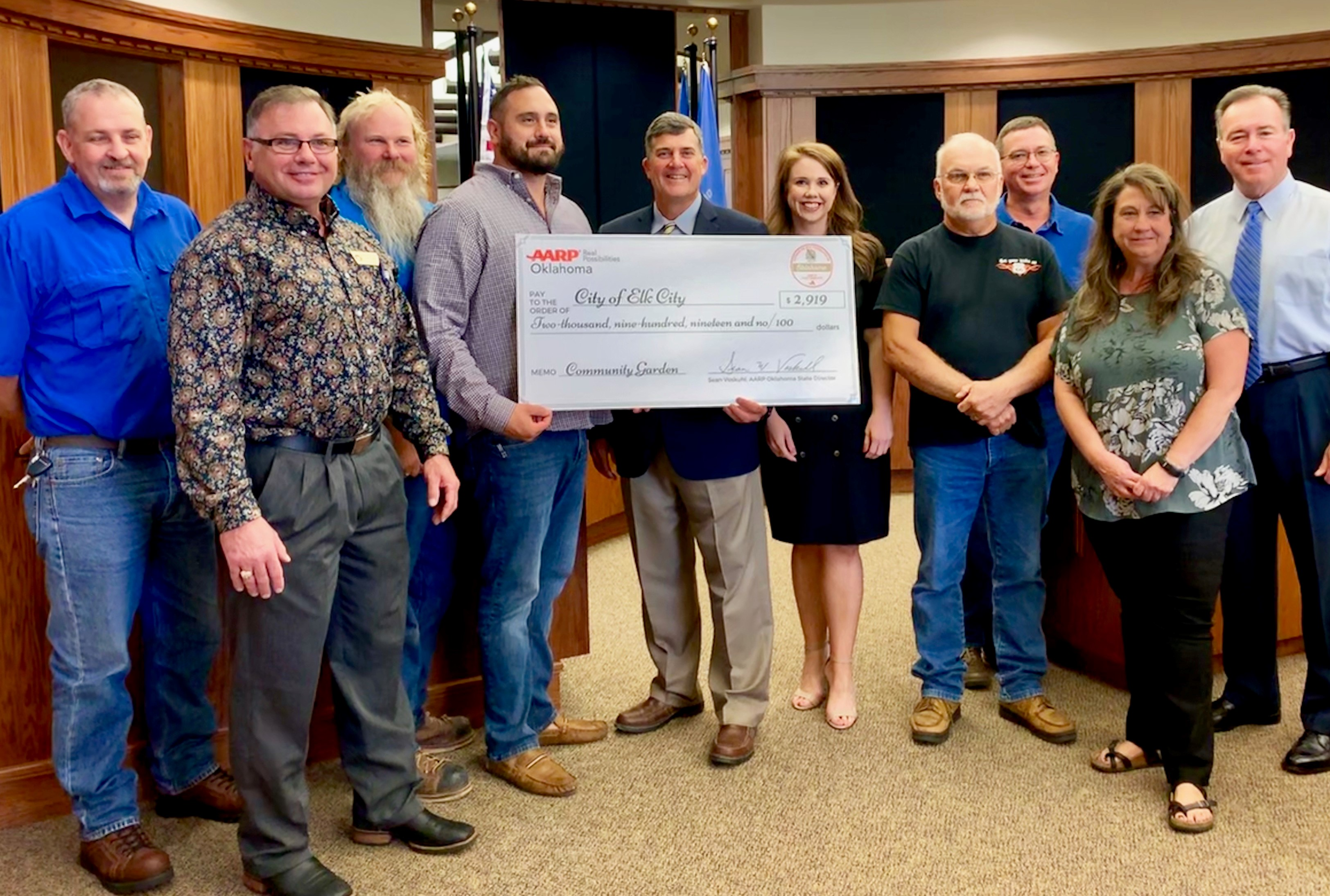 City of Elk City Presented with Honorary Grant Check by AARP Oklahoma for Community Garden Updates