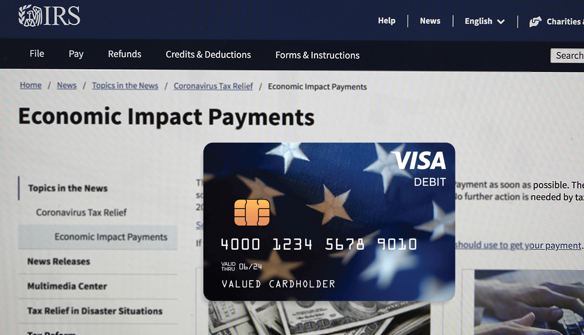 sample look at a stimulus payment debit card with a screen of th