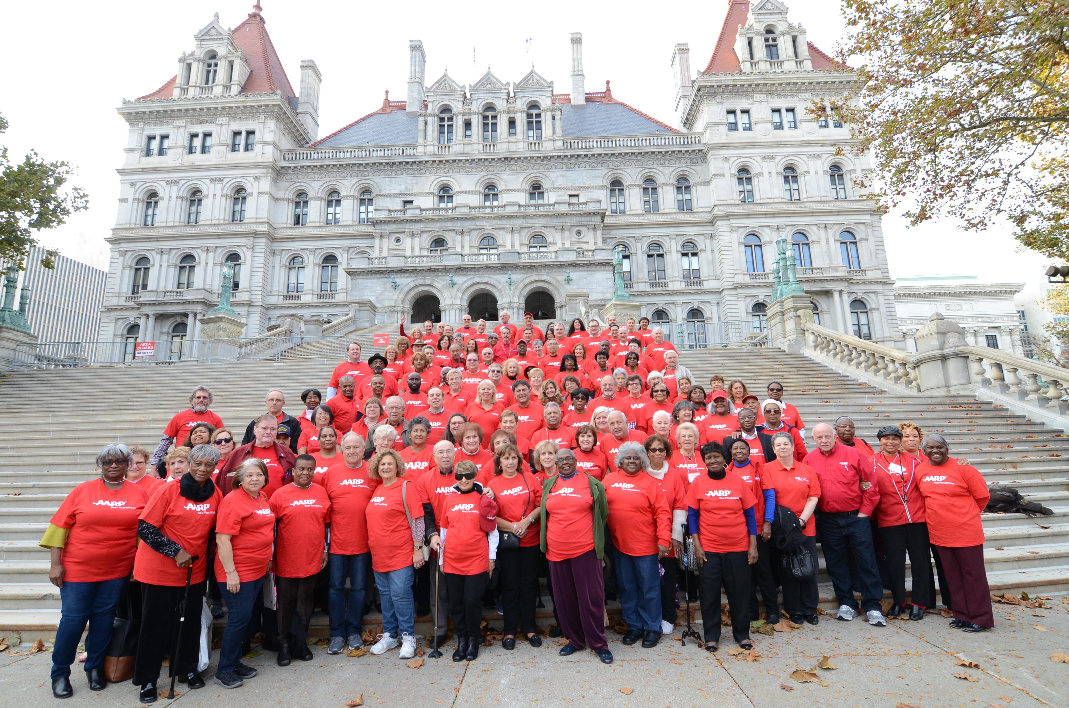 NYS Capitol steps with volunteers.jpg