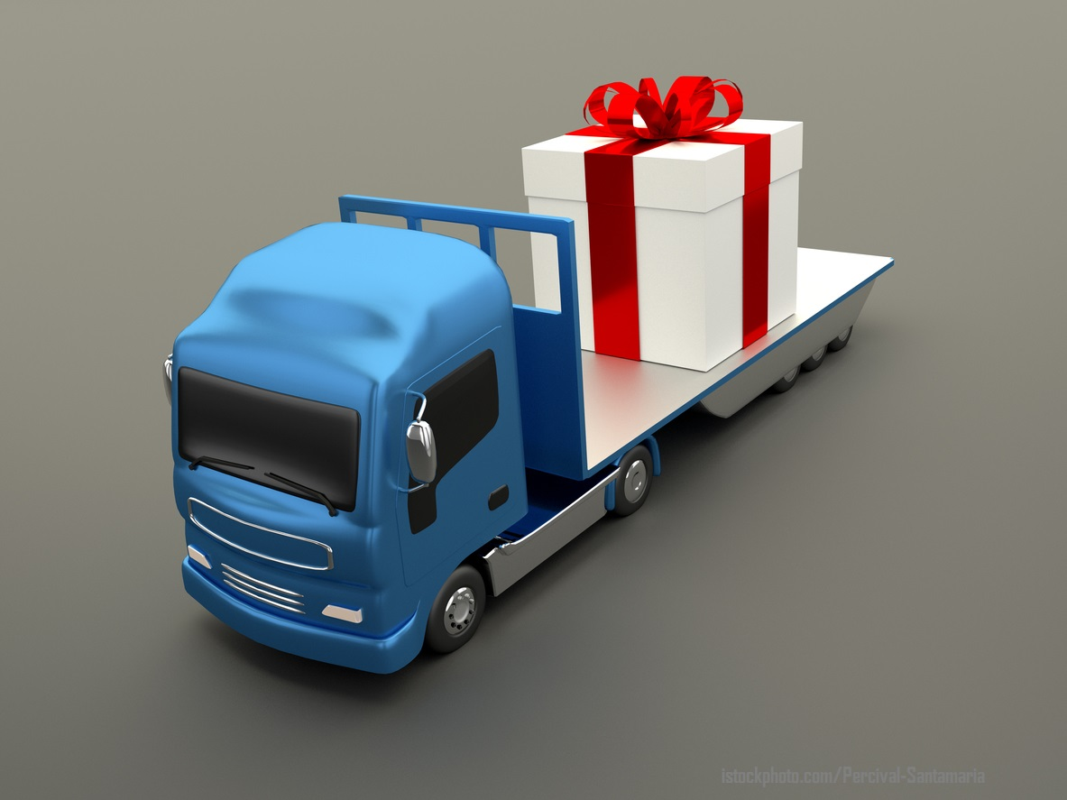 delivery of gifts in truck