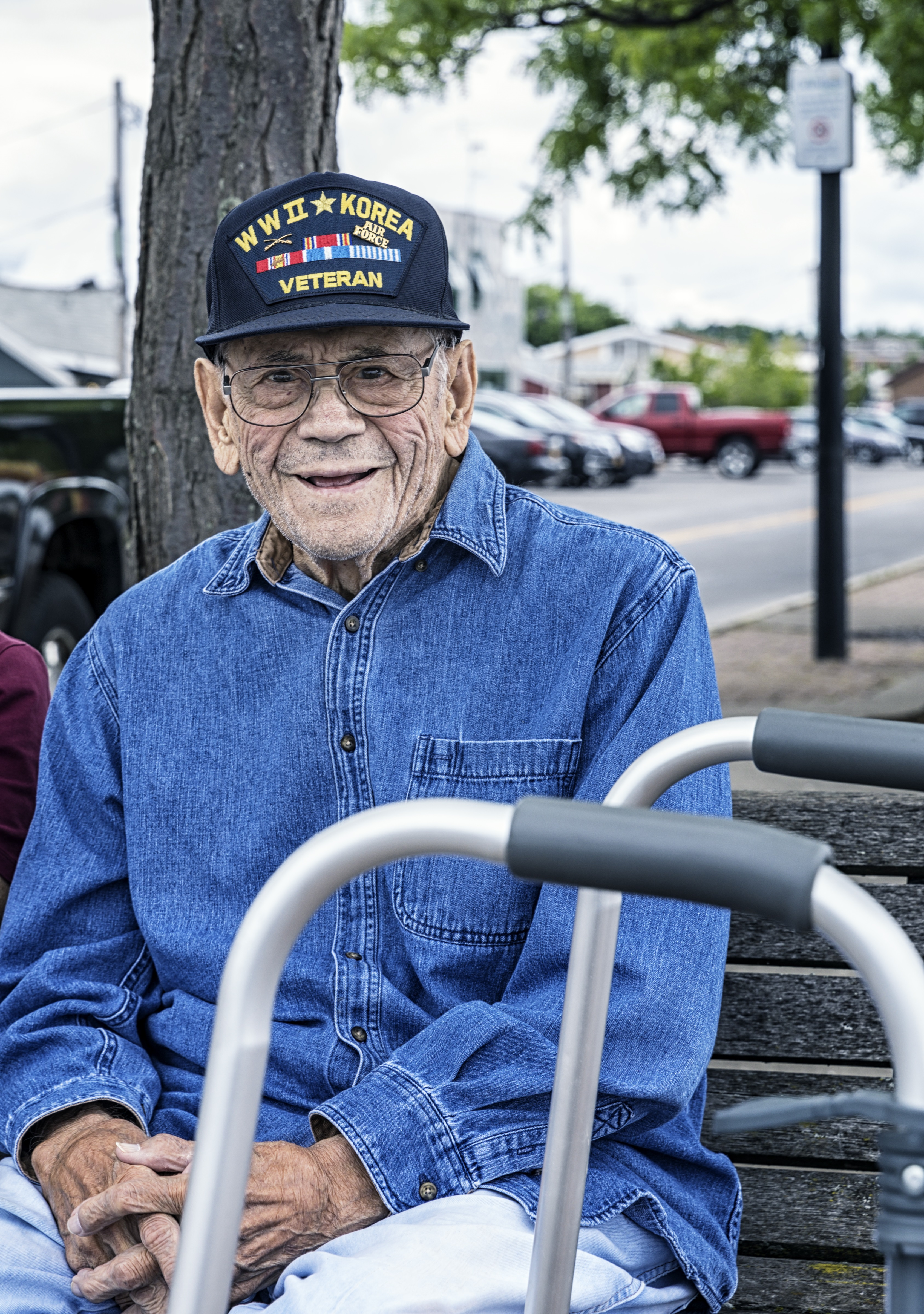 Smiling WWII and Korean War USA Military Veteran