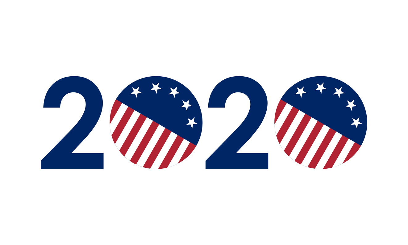 2020 numbers in united states flag colors, vector illustration
