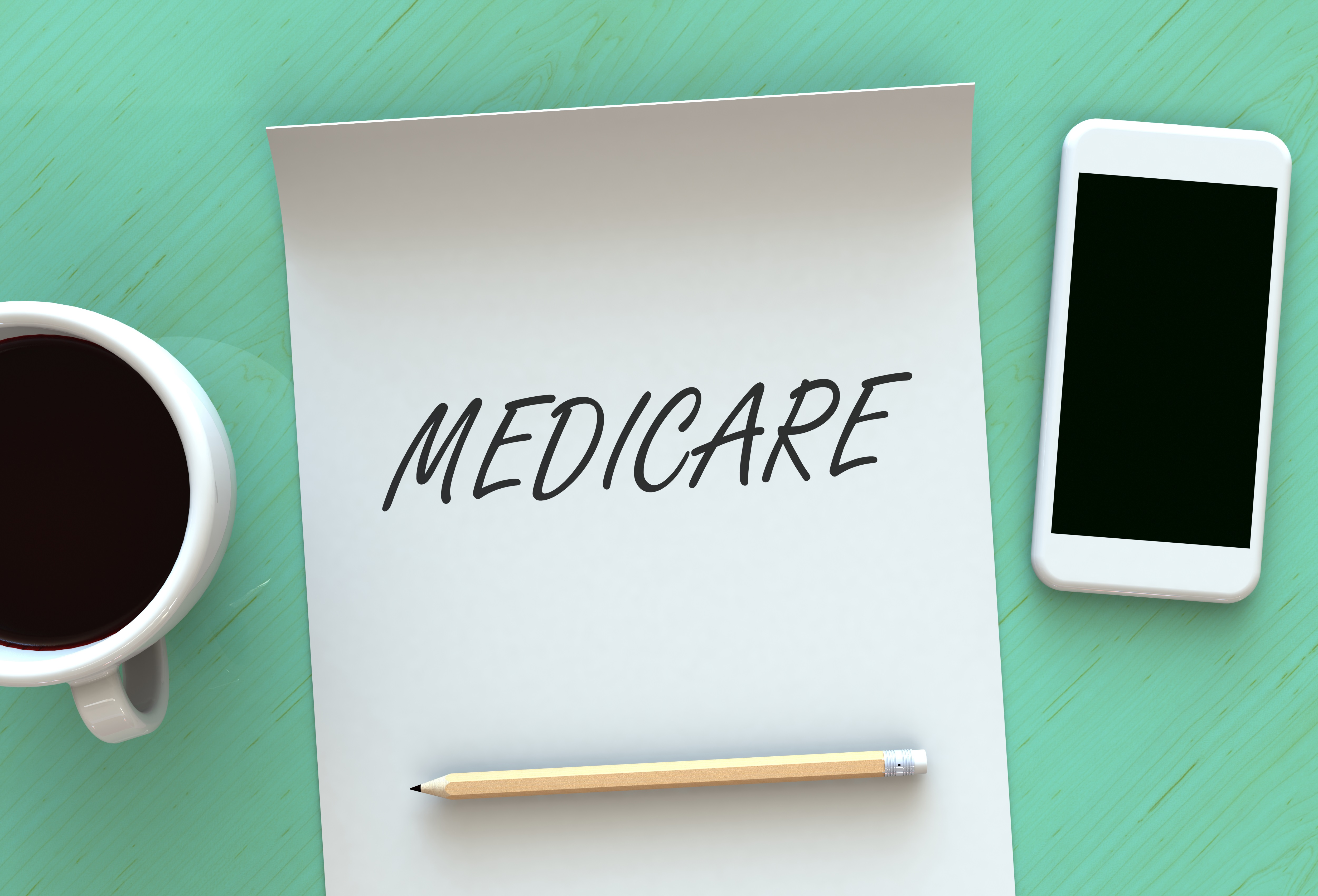 MEDICARE, message on paper, smart phone and coffee on table, 3D rendering
