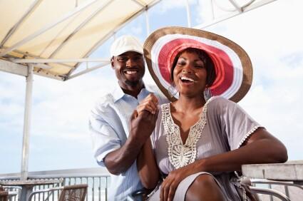 Couple having fun on beach terrace