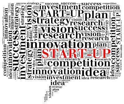 Business start-up concept. Word cloud illustration.