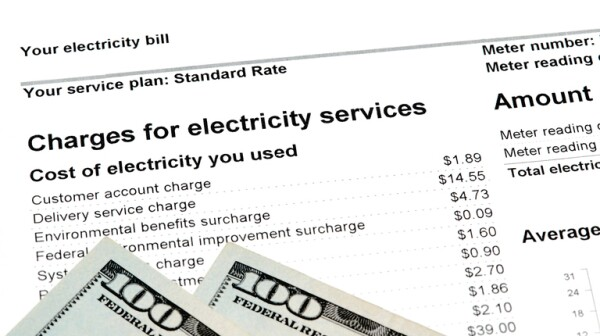Residential Electricity Bill with US Currency