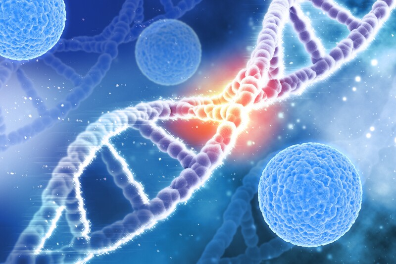 3D medical background virus cells and DNA strands