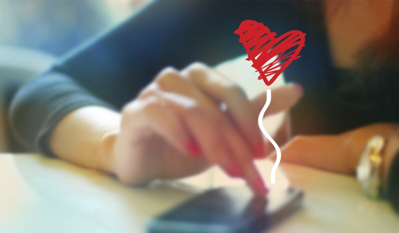 colorful woman playing chat with boyfriend on mobile phone, sof