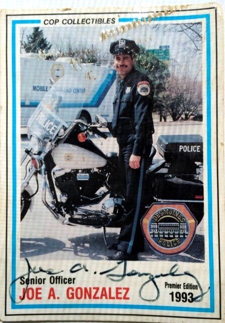 """On a police """"trading card"""" from 1993"""