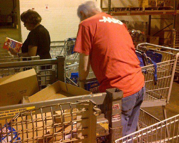 AARP volunteers sorting food at Mid-South Food Bank