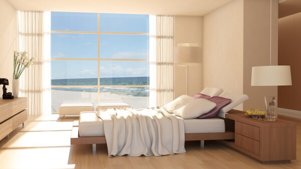 Minimalist Bedroom Interior With Sea View