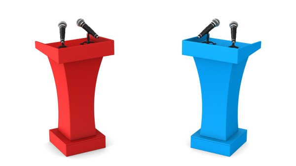 two tribunes with microphones on white background. Isolated 3D illustration