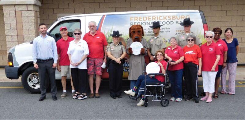 Food drive photo with van
