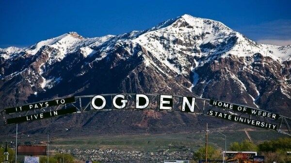 Ogden with mountains and arch