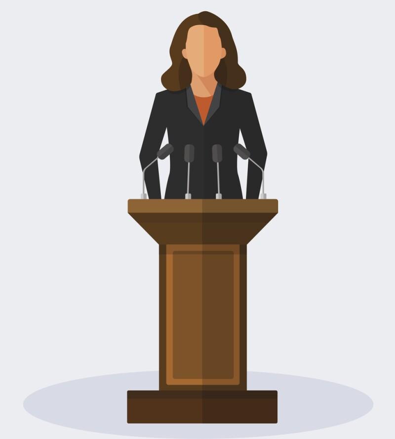 Vector Illustration Politician Woman Giving Speech