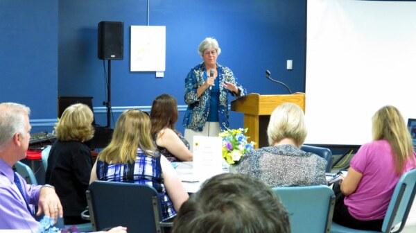 Sheila Salyer speaking at Wednesday event