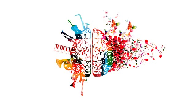 Colorful human brain with music notes and instruments