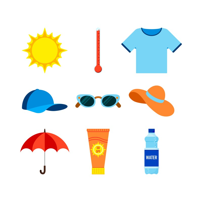 Beach and heat stroke prevention infographic icon set.