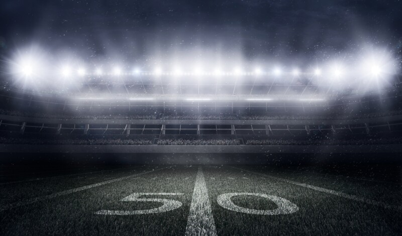 American football stadium in lights and flashes