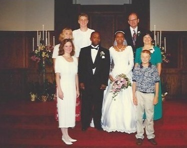 Ruth and Tony's wedding with their host family, the Lubbers