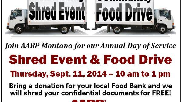 AARP Montana Shred Event Food Drive