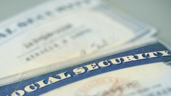 closeup of US Social Security cards