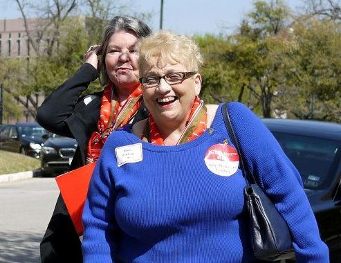 Marie Graziano, AARP Texas volunteer, smiles after a morning of visits with elected offcials in Austin