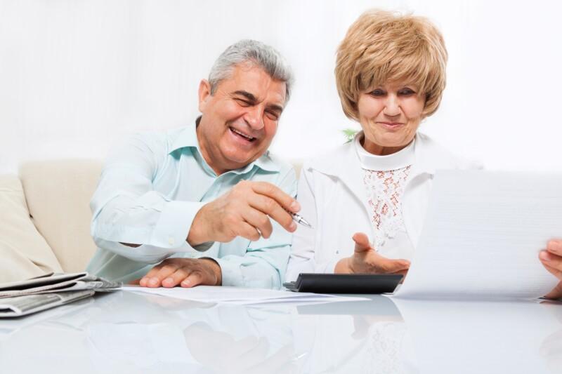 senior couple read paper letter, happy smile