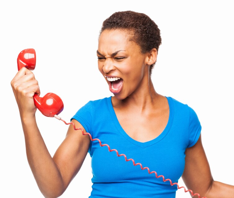 African American Woman Screaming On a Phone Call - Isolated