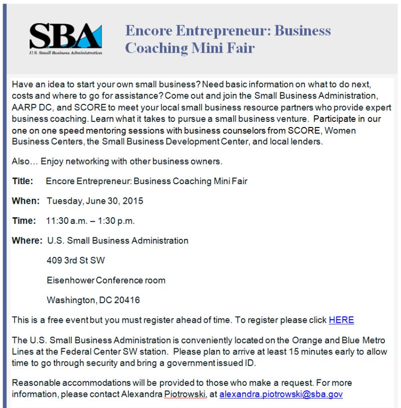 Flyer for 6-30-15 SBA Encore Event