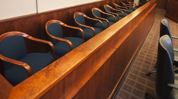 Juror's row in a court room.