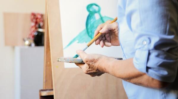 Art School Elderly People Taking Class Learning To Paint