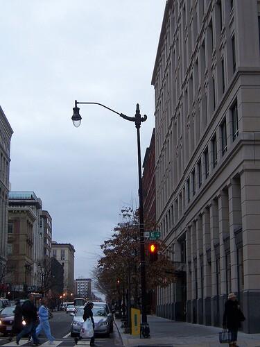 Downtown crosswalk scene