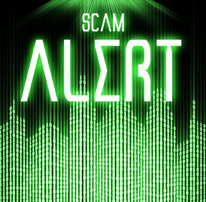 Scam alert with cyber binary code technology