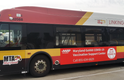 AARP Maryland Transit Campaign Promotes the State's Toll Free Vaccination Hotline