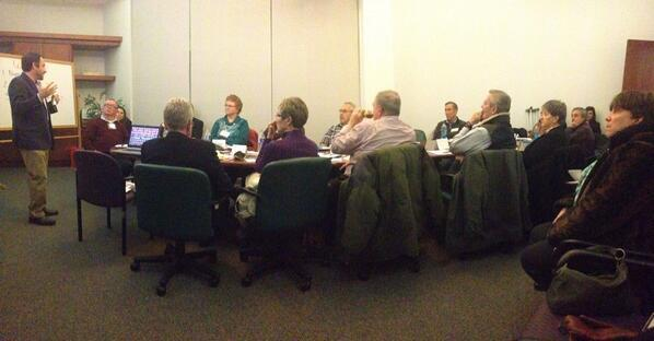Steve Griffin addressing group at WMUR on 1-23-14