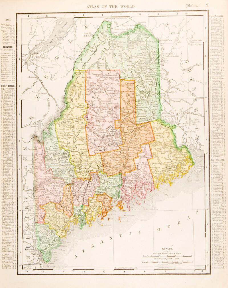 Antique Vintage Color Map of Maine, Unites States