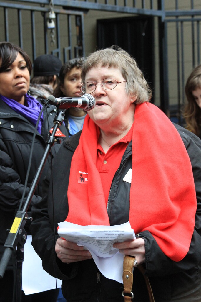 Lynne Treat speaks at CoverMe Rally