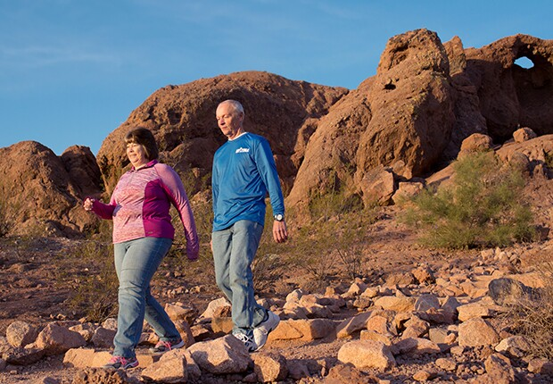Man and woman exercise outdoors in Phoenix