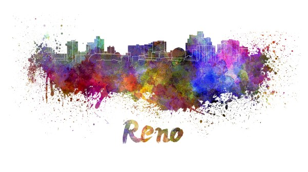 Reno skyline in watercolor