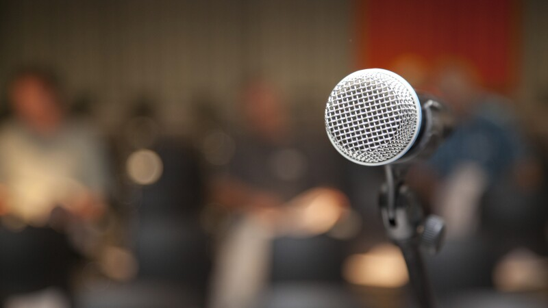 microphone at lectern